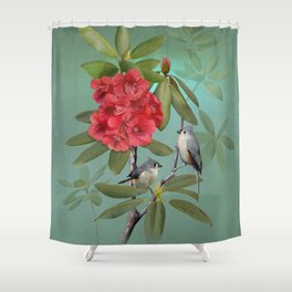 Tufted Titmice and Rhododendron Shower Curtain
