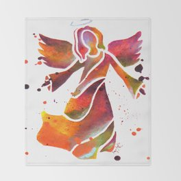 Colorful Angel Acrylic Abstract Painting by Saribelle Rodriguez Throw Blanket