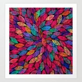 Abstract Colorful leaves III Art Print