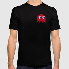 Pac-Man Red Ghost Black Mens Fitted Tee LARGE