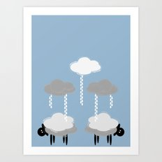 Wooly weather - Sheep Rain Clouds Art Print