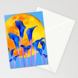 GOLDEN FULL MOON BLUE CALLA LILIES BLUE ART Stationery Cards