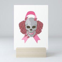 Skull Pink Ribbon Mini Art Print