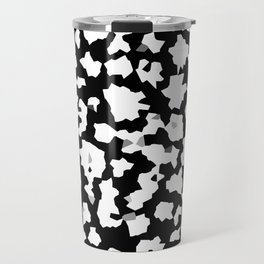 Black and White Minimal Mosaic Pattern Travel Mug