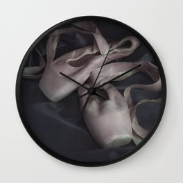 Pastel pink points ballet shoes Wall Clock
