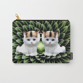 Cute Twin Cats on Green Plant Carry-All Pouch