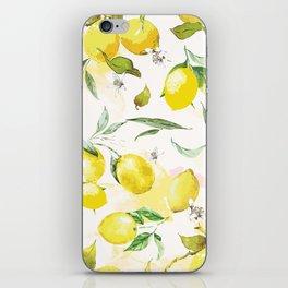 Watercolor lemons iPhone Skin