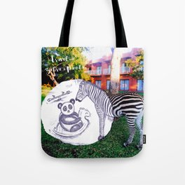 Travel with Zebra and Panda Tote Bag