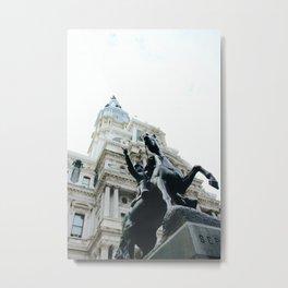 Philadelphia City Hall with Horse Statue Metal Print