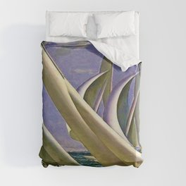 American Masterpiece 'Racing in Newport - America's Cup' by G. Foster Duvet Cover