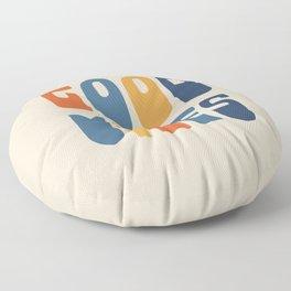 Good Vibes Positive Retro Typography in Blue, Orange, and Mustard on Light Beige Floor Pillow