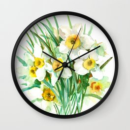 White Daffodils, spring flowers yellow green spring floral design Wall Clock