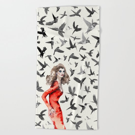 Barcelona Summer Bird Lady Beach Towel