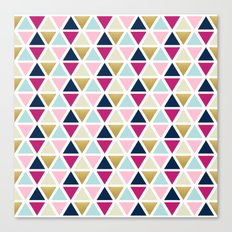 Triangle Geometry, Gold, Navy blue and Pink Canvas Print