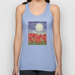 moonlit poppies, fireflies, and snails Unisex Tank Top