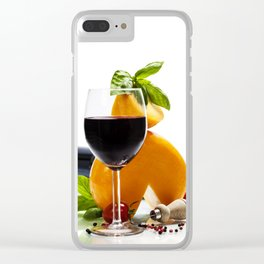 Wine, cheese and italian ingredients over white Clear iPhone Case