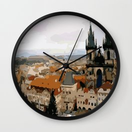 Prague CZ street view Wall Clock