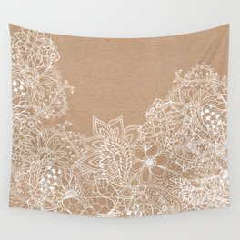 Modern white hand drawn floral illustration on rustic beige faux kraft color block Wall Tapestry