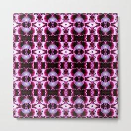 Purple White Flower Pattern Metal Print