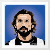 pirlo Art Prints featuring Andrea Pirlo Illustration by Stephanie Post