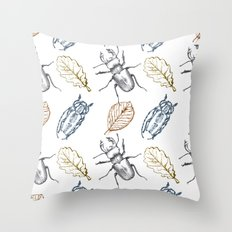 Bugs and leaves Throw Pillow