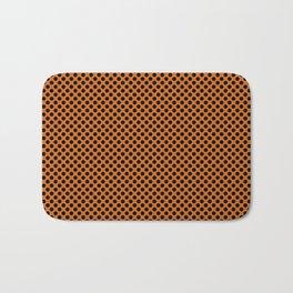 Autumn Maple and Black Polka Dots Bath Mat