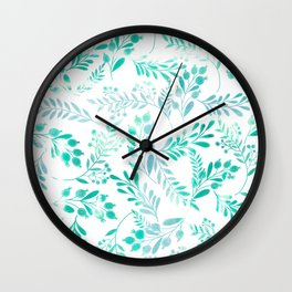 Teal turquoise blue white watercolor foliage Wall Clock