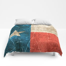 Vintage Aged and Scratched Texas Flag Comforters