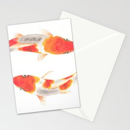 Koi fish watercolor painting Stationery Cards