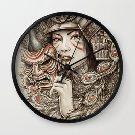 Peacock Samurai Wall Clock