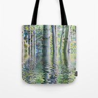 sia Tote Bags featuring SERENE GREEN SCENE by Catspaws