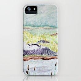 Flight of the Great Blue Heron, Trojan Oregon painting iPhone Case