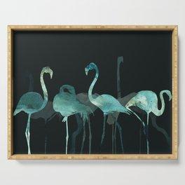 Watercolor Winter Flamingos in Dark collab. with @rodrigomffonseca Serving Tray