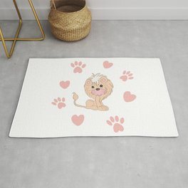 Cute Lion Cub with Paw Prints and Hearts Rug