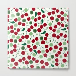 474-Cherries with shining dots and leaves pattern Metal Print