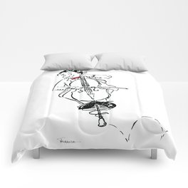 Funny Cello Player Cartoon - Pogo Cellist Comforters