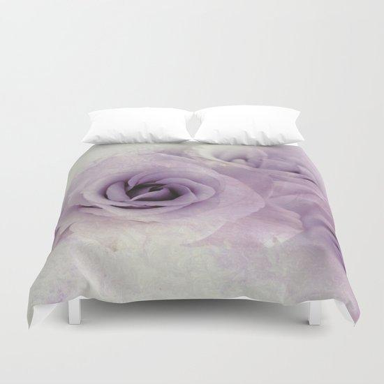 wet purple rose Duvet Cover