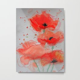 Bright Red Poppies Metal Print