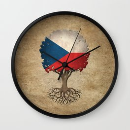 Vintage Tree of Life with Flag of Czech Republic Wall Clock