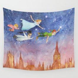 Peter Pan Sunset Nursery Decor Wall Tapestry