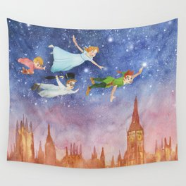 Peter Pan Sunset Nursery Decor Wall Tapestry