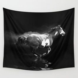 Galloping Pinto Horse Wall Tapestry