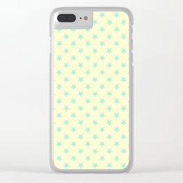 Magic Mint Green on Cream Yellow Stars Clear iPhone Case