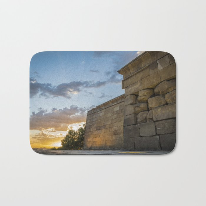 Sunset on egyptian Debod Temple in Madrid Bath Mat