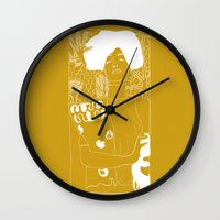 gustav klimt Wall Clocks featuring Gustav Klimt by Ian CY Hau