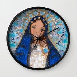 La Virgen de la Caridad del Cobre by Flor Larios Wall Clock