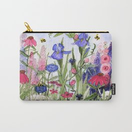 Colorful Garden Flower Acrylic Painting Carry-All Pouch