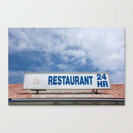 Open 24 Hours. Canvas Print