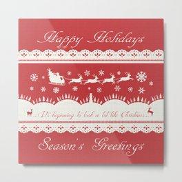 Christmas Winter Scene Santa Sleigh and Reindeer Design Metal Print