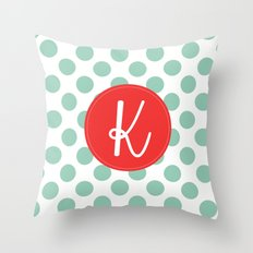 Monogram Initial K Polka Dot Throw Pillow
